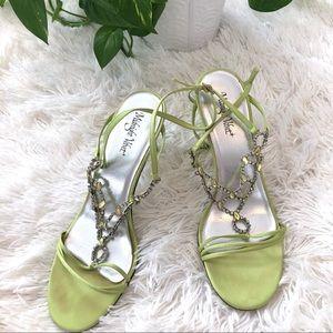 Midnight Velvet Green Jewel Rhinestone High Heels